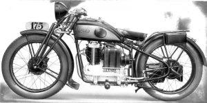 """Foto della prima moto Ollearo a 4 tempi: la """"tipo 4"""" 175 cc del 1930 con telaio rigido."""